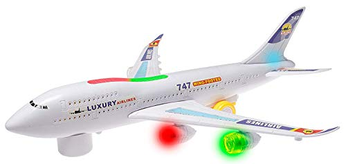 Top Race Boeing 747 Replica Model Airplane Toy, with Lights and Real Sounds, Bump and Go Action (Airplanes Model Planes Great)