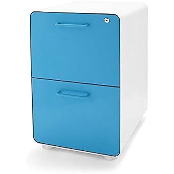 Amazon Com Poppin White Aqua Stow Rolling 3 Drawer