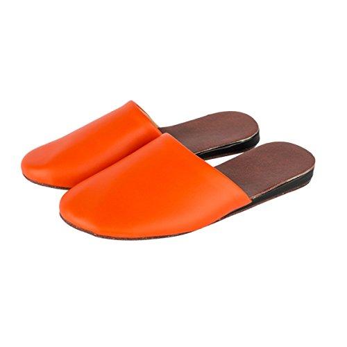 Pantofole Donna Haisum Chiuso Pantofole Primavera Estate Coperta In Pelle Anti-scivolo Sandali Casa Arancione