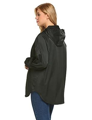 Unibelle Women's Rainwear Active Outdoor Waterproof Rain Jacket Batwing Hooded Windbreaker