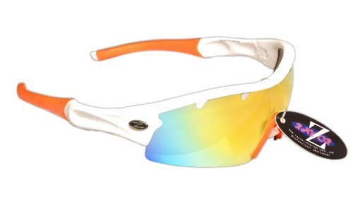 Mirrored Walking Wrap Lens Lightweight Glare RayZor a Orange White 1 Vented Sunglasses With UV400 Sports Hiking Iridium Piece Professional Anti A0qHa
