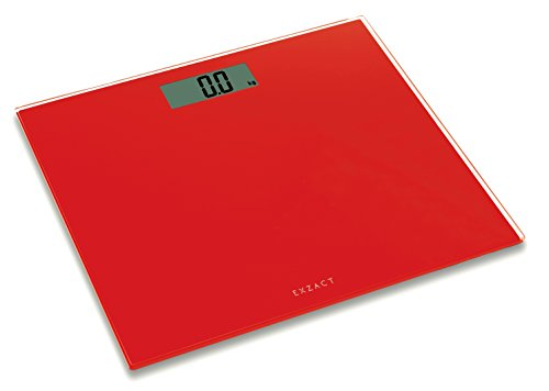 Exzact EX9360 ColorSlim – Digital Bathroom Scale / Electronic Weighing Scale - Ultra Slim 1.7 CM Thickness -150 kg / 330 lb - Color Glass Platform (Red)