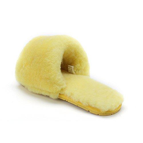 Pantofole In Lana Di Lana Con Frange Morbide Pantofole In Pelle Di Pecora Pantofole In Pelliccia Pantofole Di Pelle Di Agnello Giallo
