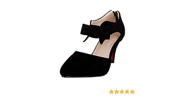 db31db43bb0 Vitalo Womens Bow Mary Jane Pointed Toe Pumps High Heels Dress Court Shoes