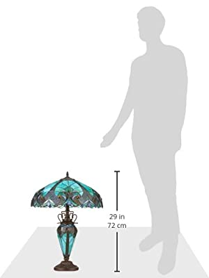 "Chloe Lighting CH18780VG18-DT3 Liaison Tiffany-Style Victorian 3 Light Double Lit Table Lamp with Shade, 24.5 x 18 x 18"", Multicolor"
