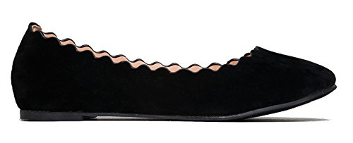 J Black Scalloped Toe Comfortable Flat Classic Adams Suede On Closed Cute Flat by Janie Slip Shoes Ballet ZUWZRPrfq