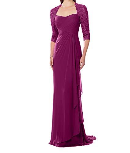Charmant Festlichkleider Langarm Damen Abendkleider mit Mutterkleider Spitze Promkleider Dunkel Chiffon Fuchsia qww8rgdX