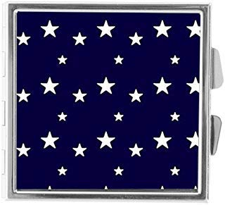 - White Twinkle Stars in Blue Sky Custom Unique Stainless Steel Pill Box Medicine Tablet Organizer or Coin Purse