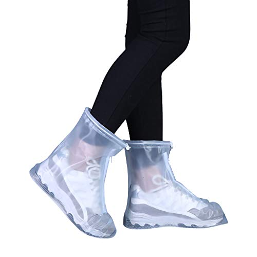 Kecar❤New Shoe Covers, Waterproof Rain Shoes Boots Covers Overshoes Galoshes, Reusable & Foldable Travel Rain Boot Cover, Rainproof & Anti-Slip Rain Shoe Covers for Men Women Kids (White, XL)