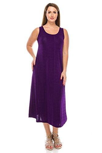 Purple Slinky - Jostar Women's Stretchy Tank Long Dress Sleeveless Plus 3XL Purple