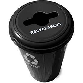Round Paper Recycling Container (Round Recycling Container With Combo Lid, 20 Gallon Capacity, Steel, Black)