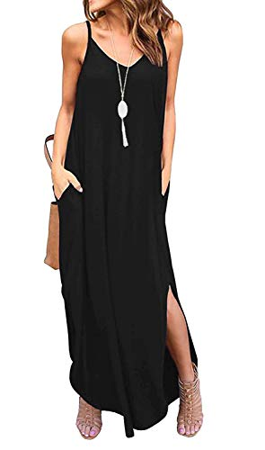 Sleeveless Strappy Cami Maxi Long Dress V Neck with Pockets Casual Summer Beach Skirt Cover Up Backless Side Slits Loose Solid Color for Women Black M