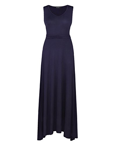 OUGES Women's V Neck Sleeveless Summer Casual Long Maxi Dresses(Navy,S) ¡ by OUGES (Image #1)