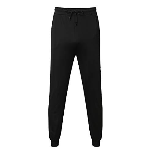 Transer- Mens Jogger Pants, Stretchy Cotton Side Color Block Elastic Waist Drawstring Fitness Running Sportpants Black