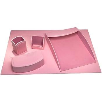 bonded leather desk set 6 piece pink. dacasso 5piece faux leather desk set cameo pink bonded 6 piece t