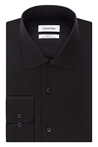 (Calvin Klein Men's Regular Fit Non Iron Herringbone Spread Collar Dress Shirt, Black, 14.5