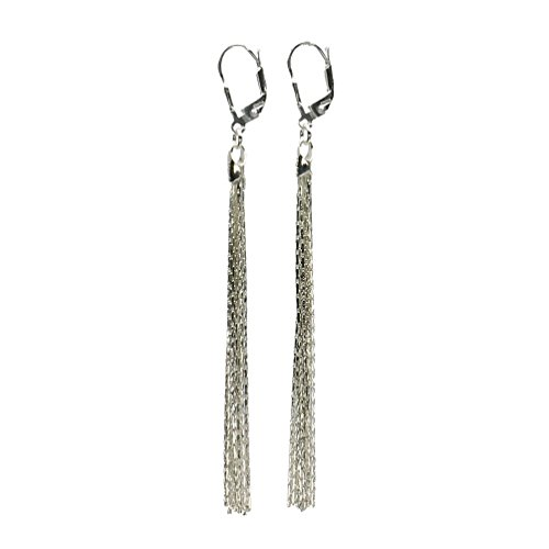 - Sterling Silver Multi-Strand Diamond-Cut Italy Chain Tassel Leverback Earrings