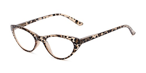 Readers.com The Brit +1.50 Brown Leopard Cat Eye in Leopard or Black 1960s Style Glasses Reading Glasses (Susan Print Glass)