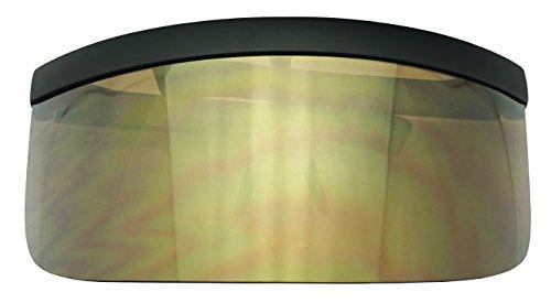 Extra Large Mask Cover Shield Visor Style Sunglasses W/Flash Mirrored Mono Lens (Matte Black, Copper Mirror) ()