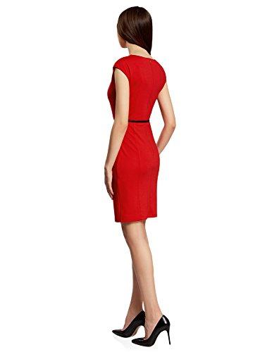 oodji Collection Mujer Vestido de Punto con Cinturón Rojo (4500N)