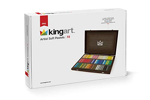 KINGART 125 Artist Soft Pastels, Set of 72 Unique Colors, Espresso Stained Hardwood Case, Silver Hinges/Clasp