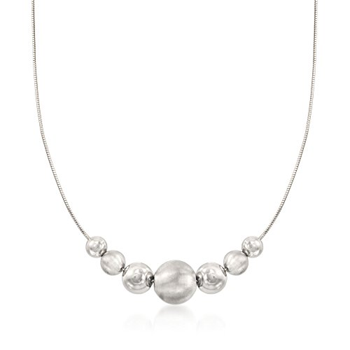 Brushed Silver Beads Necklace - Ross-Simons Italian 7-14mm Sterling Silver Brushed and Polished Bead Necklace