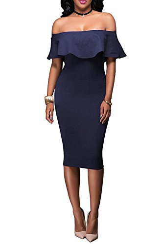 Short Dress Strapless Cocktail Dress - Wonderoy Women's Ruffles Off Shoulder Fitted Club Party Cocktail Bodycon Midi Dress XL Navy Blue