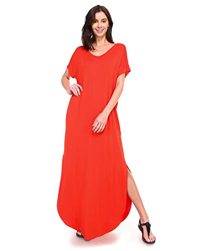 Isaac Liev Short Sleeve Maxi Dress with Pockets Loose Casual Long Dress with Scoop Neck, Splits & Side Pockets (2X-Large, Bright Rust)