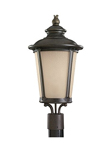 Sea Gull Lighting 82240EN-780 Cape May - One Light Outdoor Post Lantern, Burled Iron Finish with Etched Hammered/Light Amber Glass