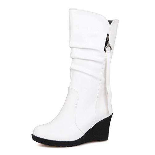 Calf Mid CHICMARK White Boots Women Wedge qUgwxCpvf