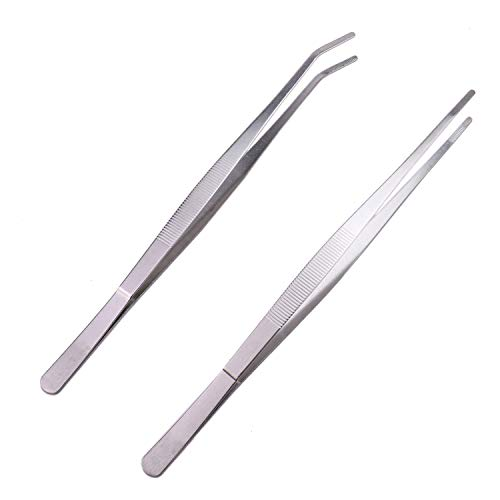 Monrocco 2Pcs Stainless Steel Straight and Curved Tip Tweezers,12'' Inches Long Handle Tweezer Tongs for Cooking,Kitchen,Garden
