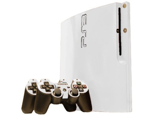 (Sony PlayStation 3 Slim Skin (PS3 Slim) - NEW - WINTER WHITE system skins faceplate decal mod)