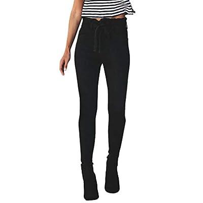 RAINED-Women Hight Waist Jeans Bow Tie Button Pants Ripped Hole Denim Pants Slim Skinny Jeans Trousers Slim Leggings