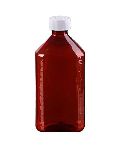 Oval Pharmacy Bottle for Liquid Medicine - Amber Medicine Bottle - Child Resistant Cap - 16 oz - Pack of 25 - Prescription Pharmacy Bottle, Pharmacy Container, Prescription Plastic Container by Sponix by BioRx Laboratories