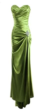 Fiesta Formals Strapless Long Satin Bandage Gown Bridesmaid Dress Prom Formal Crystal Pin - Green - XS