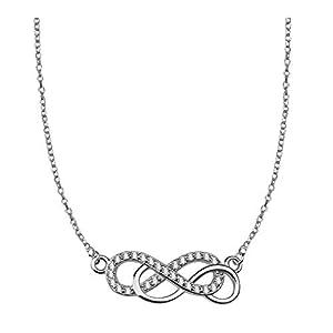 Collier avec pendentif, double motif de l'infini – Sofia Milani – Argent sterling 925avec 27oxydes de zirconium cubiques – Boîte Cadeau–50137