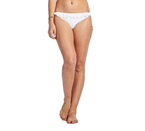 High Style Women's Ruffle Side Tie Bikini Bottom (66B, White, M) (White Ruffle Bottom)