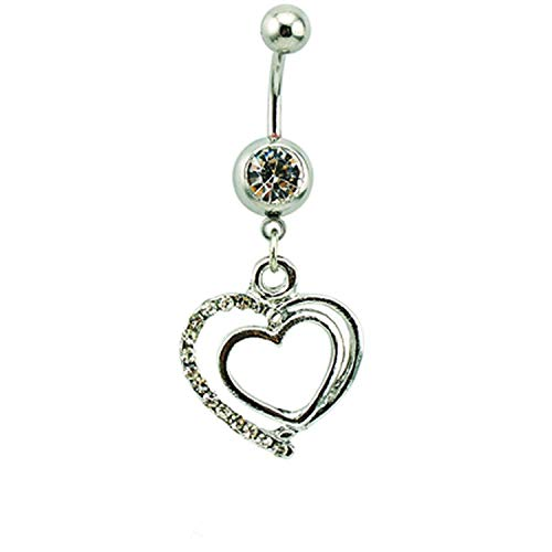 Flamingogogo Body Piercing Belly Button Rings Surgical Steel Barbells Dangle Rhinestone Double Heart Navel Rings Jewelry,White
