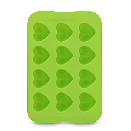 12 Grid Ice Cream Mold Silicone Chocolate Mold Tray Creative Star/Heart/Round/Square Shaped Ice Cube Cake decoration Mold,Green Heart