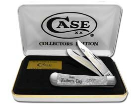 CASE XX Happy Father's Day Smooth White Pearl Corelon Trapper 1/999 Stainless Pocket Knife