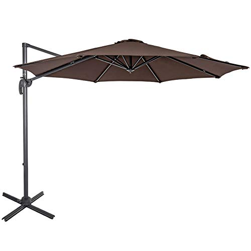 (Sundale Outdoor 10ft Offset Hanging Umbrella Market Patio Umbrella Aluminum Cantilever Pole with Crank Lift, Corss Frame, Polyester Canopy, 360°Rotation, for Garden, Deck, Backyard (Coffee))