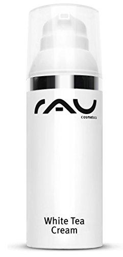 Gesichtscreme mit Anti-Aging Effekt - RAU White Tea Cream 50 ml - für trockene Haut mit u. a. Weissem Tee, Aloe Vera, Mandelöl, Aprikosenkernöl, Sheabutter, Crannberry Extrakt, Panthenol