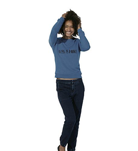 "ByOdette - Sweat-Shirt ""LESS IS MORE"" - Femme - Bleu royal - L"