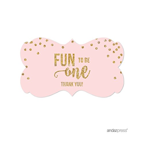 Price comparison product image Andaz Press Blush Pink Gold Glitter Girl's 1st Birthday Party Collection,  Fancy Frame Label Stickers,  Best Day Ever Thank You,  36-Pack