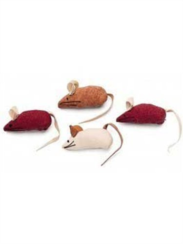 Suede Mouse Cat Toy - Ethical Faux Suede Mice Cat Toys in Assorted Colors, 4-Pack