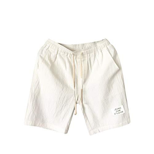 Alalaso Men's Linen Casual Classic Fit Short,Mens Swim Trunks, Swimsuit for Men Quick Dry Bathing Suit Beach Shorts White