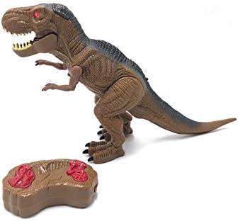 Tiranosaurio Rex Dinosaurio Teledirigido RC Muy Realista! (Movimiento, Luz, Sonido y Humo) con Mando Radio Control Remoto para Niños | T Rex Robot Dinosaurios Juguetes Interactivo (Pequeño)