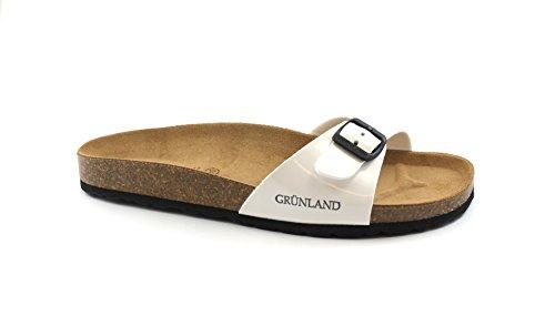 Grunland SARA CB0029 Women's Slippers Birk Buckle Bianco V0SpgbQyAL