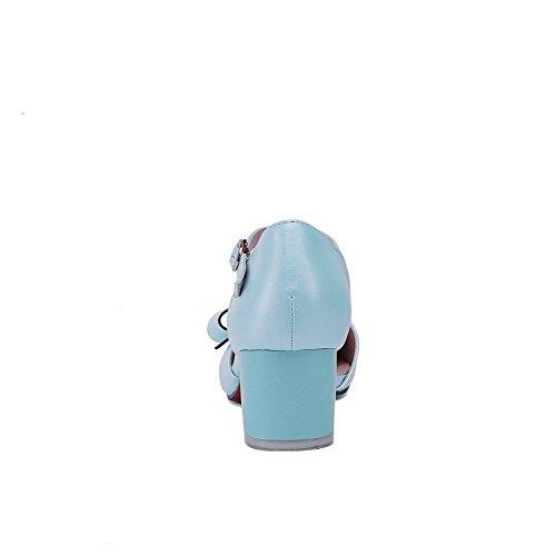 Allhqfashion Femmes Chaton-talons En Métal Pu Solide Fermé Orteils Sandales Bleues