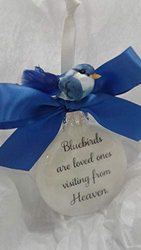 (Bluebirds Memorial Sympathy Gift - In Memory Christmas Ornament)